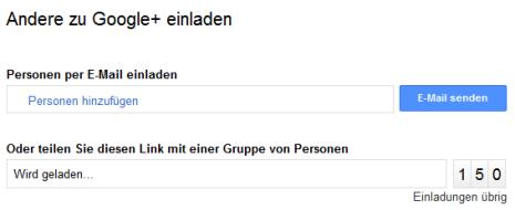 Google+ Invite per Link